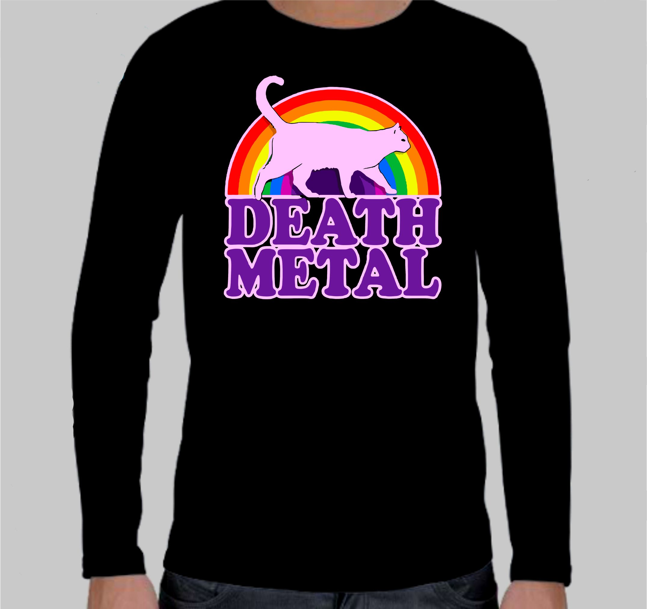 death metal cat longsleeve t shirt metal rock t shirts and accessories. Black Bedroom Furniture Sets. Home Design Ideas